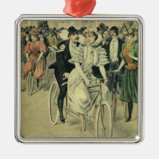 Vintage Victorian Bride and Groom Newyweds Bicycle Silver-Colored Square Decoration