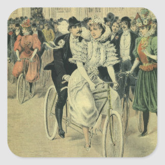 Vintage Victorian Bride and Groom Newyweds Bicycle Square Sticker