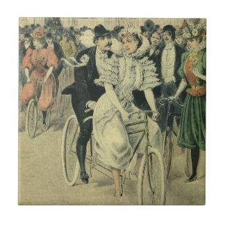 Vintage Victorian Bride and Groom Newyweds Bicycle Tile