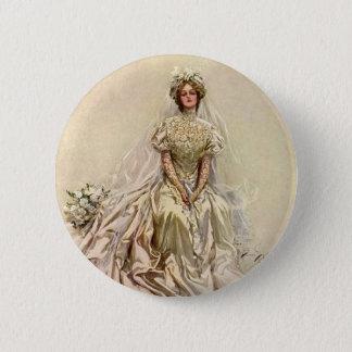 Vintage Victorian Bride, Antique Bridal Portrait 6 Cm Round Badge