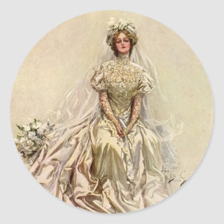 Vintage Victorian Bride, Antique Bridal Portrait Classic Round Sticker