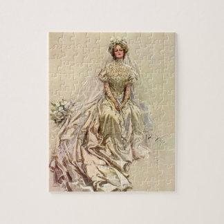 Vintage Victorian Bride, Antique Bridal Portrait Jigsaw Puzzle