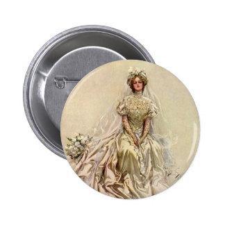 Vintage Victorian Bride Flowers, Bridal Portrait Pinback Buttons
