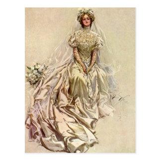 Vintage Victorian Bride Flowers, Bridal Portrait Postcards