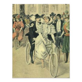 Vintage Victorian Bride Groom Bicycle Invitation