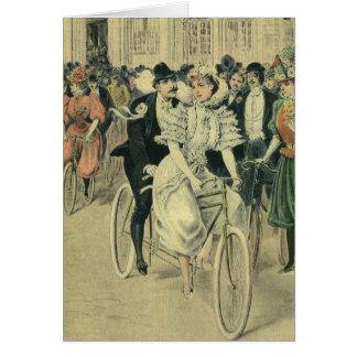 Vintage Victorian Bride Groom Ride Tandem Bicycle Greeting Card