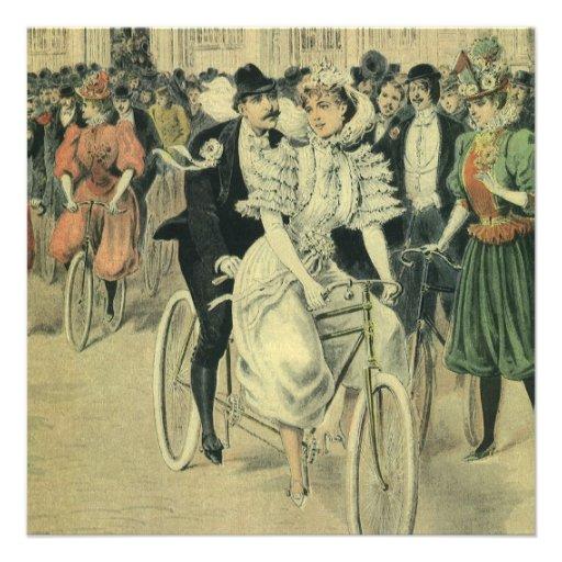 Vintage Victorian Bride Groom Ride Tandem Bicycle Invitation