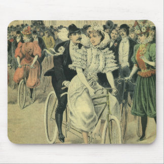 Vintage Victorian Bride Groom Ride Tandem Bicycle Mouse Pad