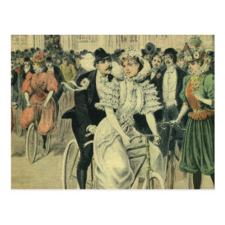 Vintage Victorian Bride Groom Ride Tandem Bicycle Postcard