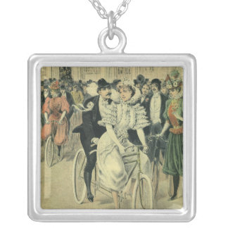 Vintage Victorian Bride Groom Ride Tandem Bicycle Square Pendant Necklace