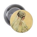 Vintage Victorian Bride in Profile Bridal Portrait Buttons