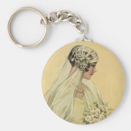 Vintage Victorian Bride in Profile Bridal Portrait Key Chains