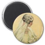 Vintage Victorian Bride in Profile Bridal Portrait Refrigerator Magnet