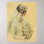 Vintage Victorian Bride in Profile Bridal Portrait Print