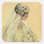 Vintage Victorian Bride in Profile Bridal Portrait Stickers