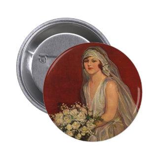 Vintage Victorian Bride Posing for Bridal Portrait 6 Cm Round Badge