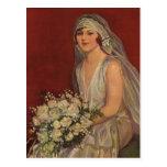 Vintage Victorian Bride Posing for Bridal Portrait Post Cards