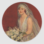 Vintage Victorian Bride Posing for Bridal Portrait Classic Round Sticker