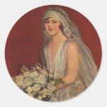 Vintage Victorian Bride Posing for Bridal Portrait Sticker