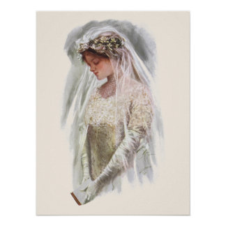 Vintage Victorian Bride with Bible Harrison Fisher Poster