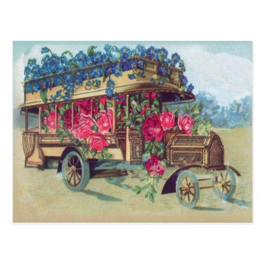 Vintage Victorian Bus Full of Easter Flowers Postcard