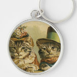 Vintage Victorian Cats in Hats, Funny Silly Humour Silver-Colored Round Key Ring