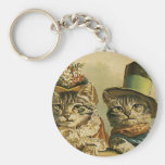 Vintage Victorian Cats in Hats, Funny Silly Humour Key Chain