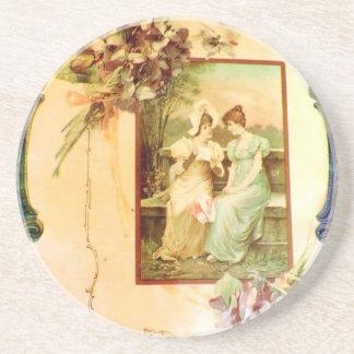 Vintage Victorian Chic Ladies in the Garden Drink Coasters