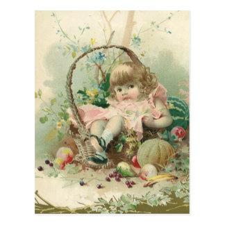 Vintage Victorian Child, Girl Spring Fruit Basket Postcard