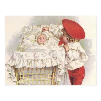 Vintage Victorian Children, Child and Baby in Pram Postcard