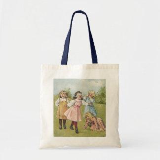 Vintage Victorian Children Playing Blindfold Games Budget Tote Bag
