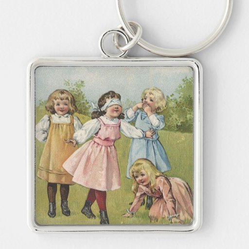 Vintage Victorian Children Playing Blindfold Games Key Chain