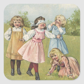 Vintage Victorian Children Playing Blindfold Games Square Sticker