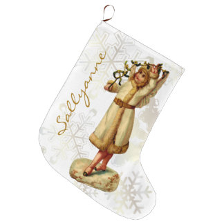 Vintage Victorian Christmas Angel w/ Personal Name Large Christmas Stocking