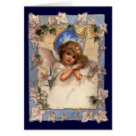 Vintage Victorian Christmas Angel with Bells Ivy Greeting Card