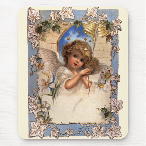 Vintage Victorian Christmas Angel with Bells Ivy Mousepads
