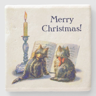 Vintage Victorian Christmas Cats Stone Coaster