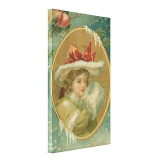 Vintage Victorian Christmas Lady Canvas Prints