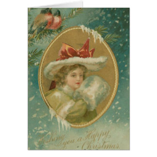 Vintage Victorian Christmas Lady Card