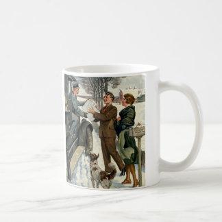 Vintage Victorian Christmas Mail Basic White Mug