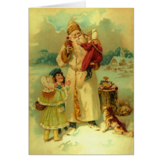 Vintage Victorian Christmas Santa Claus Kids Puppy Card