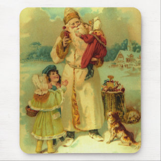 Vintage Victorian Christmas Santa Claus Kids Puppy Mouse Pad