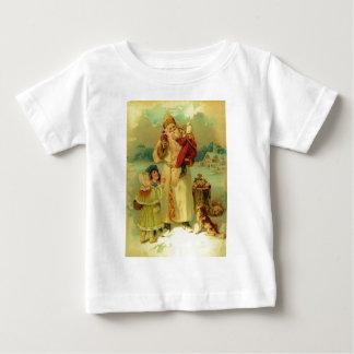 Vintage Victorian Christmas Santa Claus Kids Puppy Tee Shirt