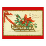 Vintage Victorian Christmas Sled Holly Invitation