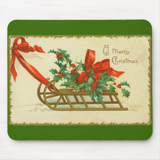 Vintage Victorian Christmas Sled n Holly Print Mouse Mat