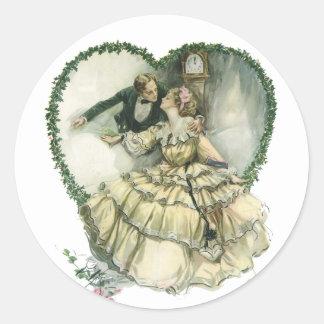Vintage Victorian Christmas Wedding Classic Round Sticker