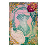 Vintage Victorian Corset and Roses Pink and Blue Poster