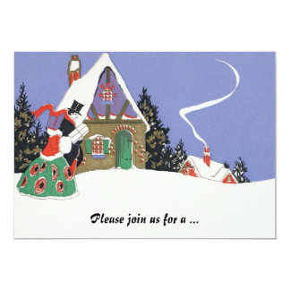 "Vintage Victorian Couple Going to Christmas Party 5"" X 7"" Invitation Card"