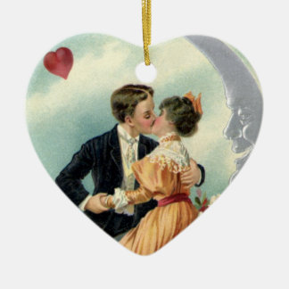 Vintage Victorian Couple Kiss on a Crescent Moon Ceramic Heart Decoration