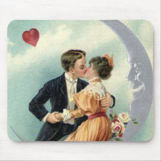 Vintage Victorian Couple Kiss on a Crescent Moon Mousepad